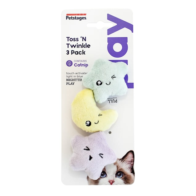 Petstages Toss 'N Twinkle Catnip Cat Toy, Medium, Pack of 3 - Carousel image #1