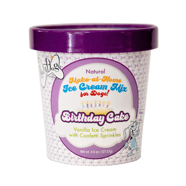The Lazy Dog Cookie Co. Make-at-Home Ice Cream Mix Birthday Cake, Vanilla with Confetti Sprinkles Dog Treats, 4.5 oz - Carousel image #1