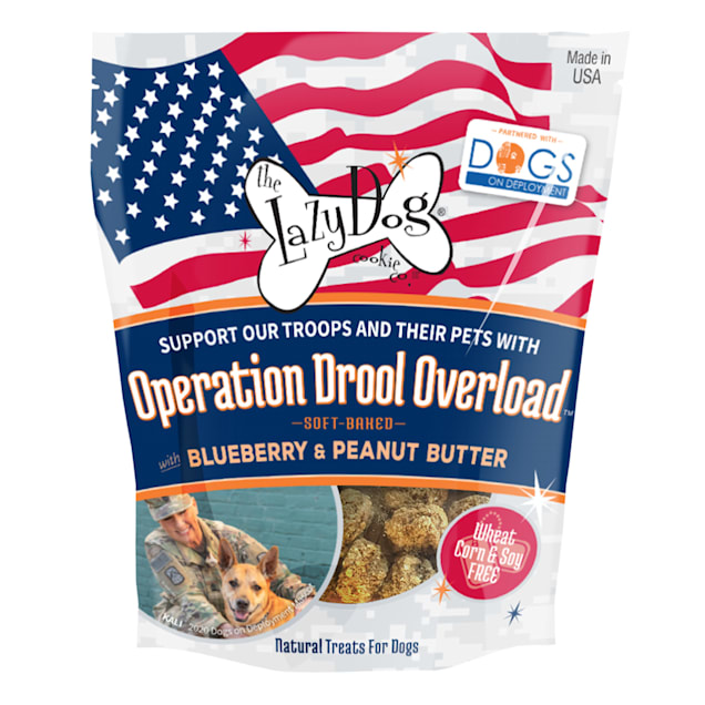 The Lazy Dog Cookie Co. & Dogs on Deployment Operation Drool Overload Blueberry & Peanut Butter Soft-Baked Dog Treats, 5 oz. - Carousel image #1
