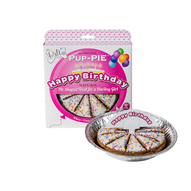 The Lazy Dog Cookie Co. The Original Pup-Pie Happy Birthday Pie Shaped Dog Treat for a Darling Girl, 5 oz. - Carousel image #1
