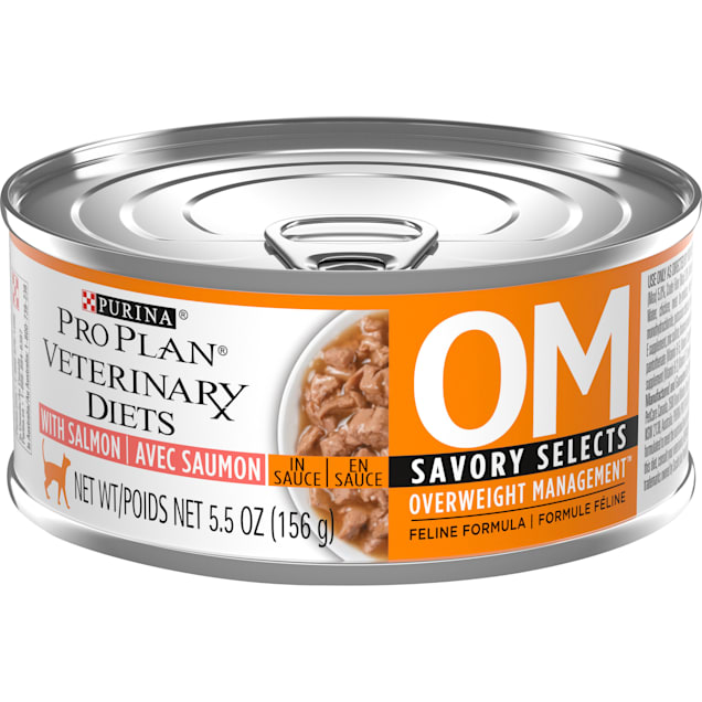 Purina Pro Plan Veterinary Diets OM Overweight Management Savory Selects, Salmon Feline Formula Wet Cat Food, 5.5 oz., Case 24 - Carousel image #1