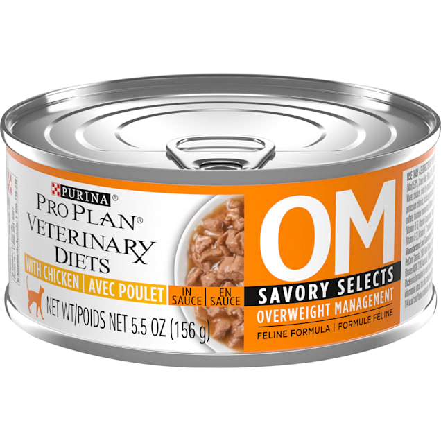 Purina Pro Plan Veterinary Diets OM Overweight Management Savory Selects, Chicken Feline Formula Wet Cat Food, 5.5 oz., Case 24 - Carousel image #1