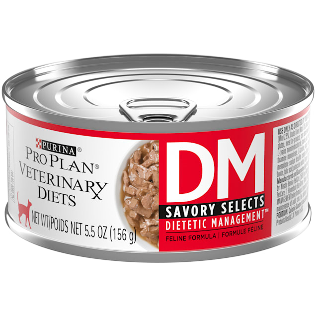 Purina Pro Plan Veterinary Diets DM Dietetic Management Savory Selects Feline Formula Wet Cat Food, 5.5 oz., Case of 24 - Carousel image #1
