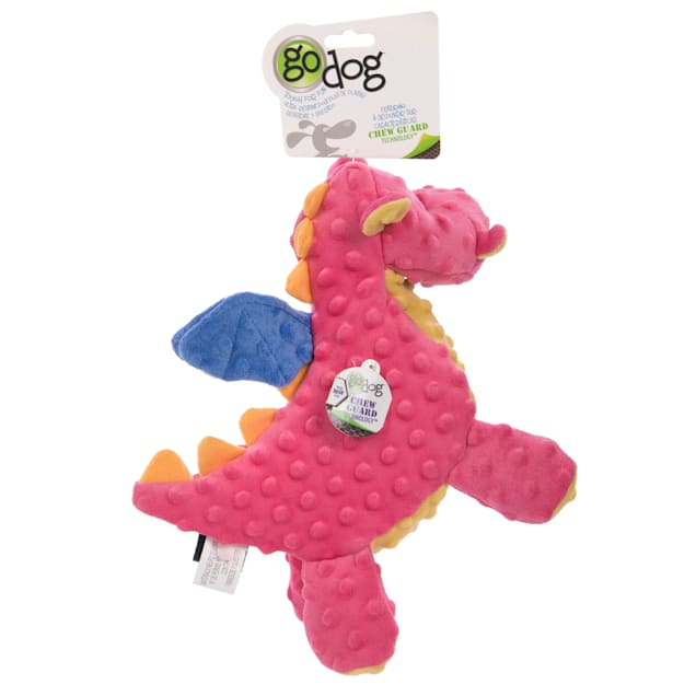goDog Coral Dragons with Chew Guard Technology Durable Plush Squeaker Dog Toy, Large - Carousel image #1