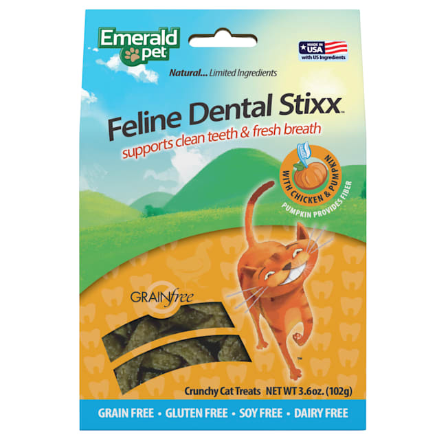 Emerald Pet Products Chicken Dental Stixx for Cats, 3.6 oz. - Carousel image #1