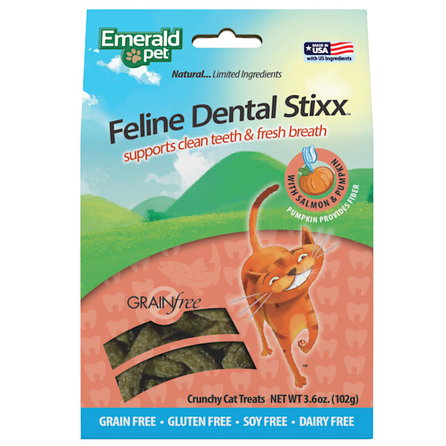 Emerald Pet Products Salmon Dental Stixx for Cats, 3.6 oz. - Carousel image #1