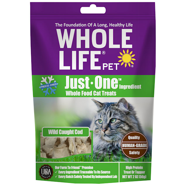 Whole Life Pet Just One Single Ingredient USA Freeze Dried Cod Fillet Treats for Cats, 2 oz. - Carousel image #1