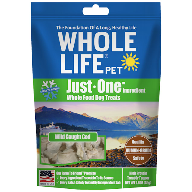 Whole Life Pet Just One Single Ingredient USA Freeze Dried Cod Fillet Treats for Dogs, 1.6 oz. - Carousel image #1