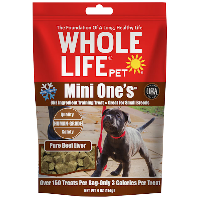 Whole Life Pet Mini One Single Ingredient USA Freeze Dried Mini Beef Liver Treats for Dogs, 4 oz. - Carousel image #1