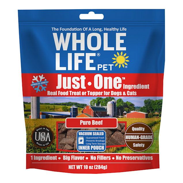 Whole Life Pet Just One Single Ingredient USA Freeze Dried Beef Treats for Dogs & Cats, 10 oz. - Carousel image #1