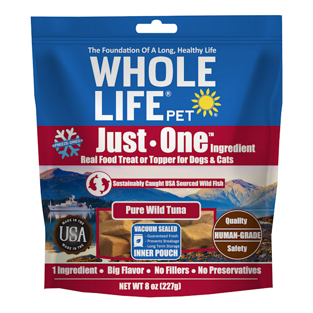 Whole Life Pet Just One Single Ingredient USA Freeze Dried Tuna Fillet Treats for Dogs & Cats, 8 oz. - Carousel image #1