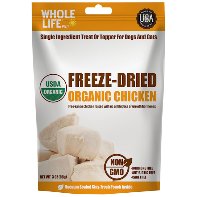 Whole Life Pet Organic Single Ingredient USA Freeze Dried Chicken Treats for Dogs & Cats, 3 oz. - Carousel image #1