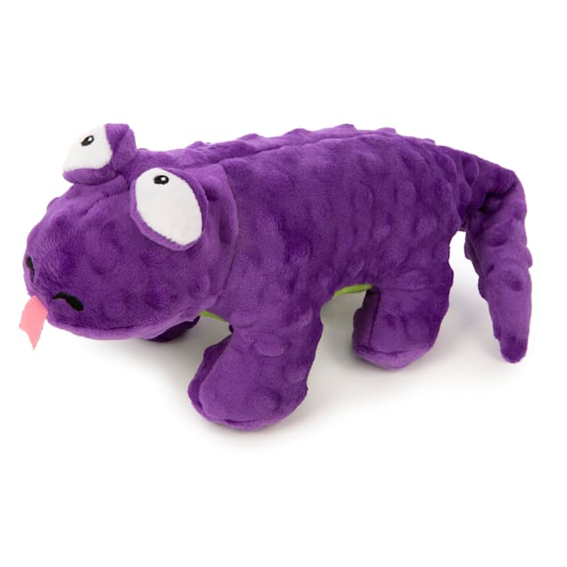 goDog Mini Purple Dragon with Chew Guard Technology Durable Plush Squeaker Dog Toy, Small - Carousel image #1