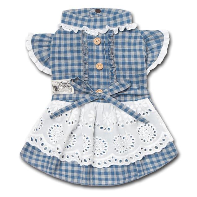 Touchdog Blue 'I love Poochi' Classical Fashion Plaid Dog Dress, X-Small - Carousel image #1