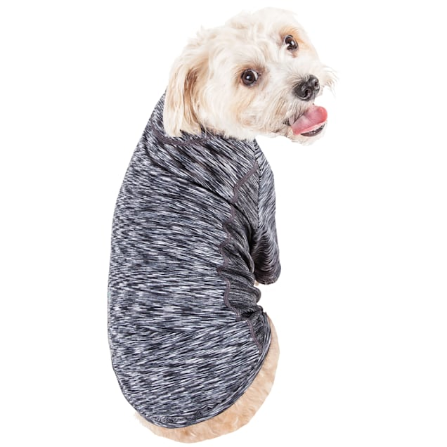 Pet Life Black Active 'Warf Speed' Heathered Ultra-Stretch Sporty Performance Dog T-Shirt, X-Small - Carousel image #1