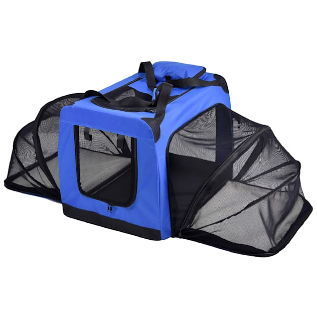 """Pet Life Blue 'Hounda Accordion' Metal Framed Soft-Folding Collapsible Expandable Dog Crate, 31.9"""" L X 22.8"""" W X 22.8"""" H - Carousel image #1"""