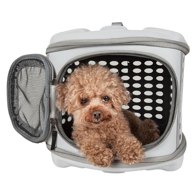 "Pet Life Grey Circular Shelled Perforate Collapsible Military Grade Transporter Pet Carrier, 18.2"" L X 14.6"" W X 12.2"" H - Carousel image #1"