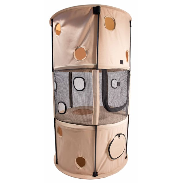 """Pet Life Khaki Climbertree Circular Obstacle Play-Active Travel Collapsible Travel Cat House, 12"""" L X 12"""" W X 39.4"""" H - Carousel image #1"""