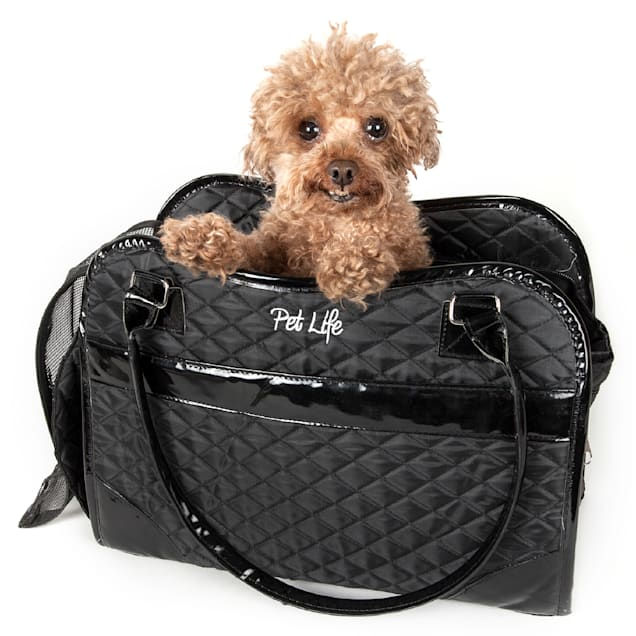 """Pet Life Black Exquisite' Handbag Fashion Pet Carrier, 14.6"""" L X 6.7"""" W X 10.6"""" H - Carousel image #1"""