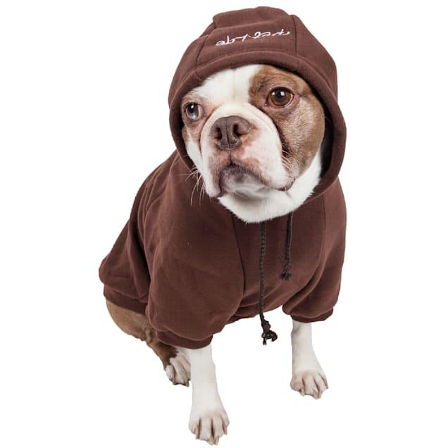 Pet Life Brown Fashion Plush Cotton Pet Hoodie Sweater, Large - Carousel image #1