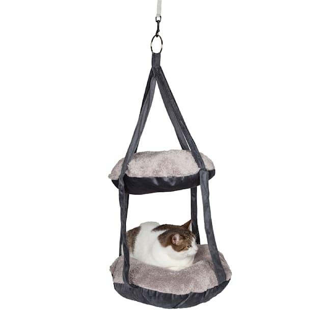 "Pet Life Grey Kittyhaus Dual-Lounger Kitty Pillow Hammock Lounge, 19.68"" L X 19.68"" W X 31.49"" H - Carousel image #1"