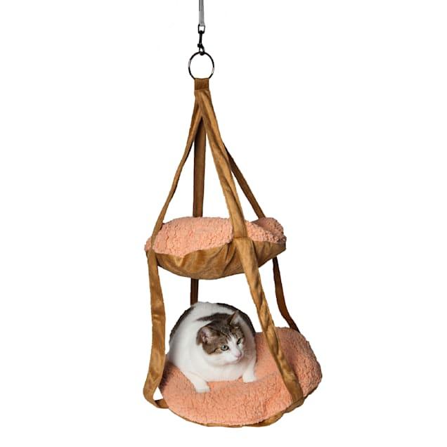 "Pet Life Brown Kittyhaus Dual-Lounger Kitty Pillow Hammock Lounge, 19.68"" L X 19.68"" W X 31.49"" H - Carousel image #1"