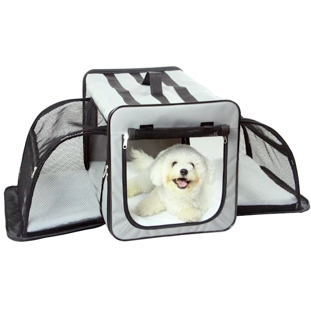 """Pet Life Grey Capacious Dual-Expandable Wire Folding Lightweight Collapsible Travel Dog Crate, 31.9"""" L X 22.8"""" W X 22.8"""" H - Carousel image #1"""