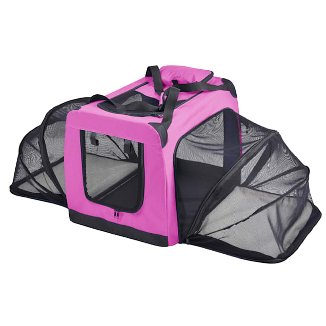 """Pet Life Pink 'Hounda Accordion' Metal Framed Soft-Folding Collapsible Expandable Dog Crate, 31.9"""" L X 22.8"""" W X 22.8"""" H - Carousel image #1"""