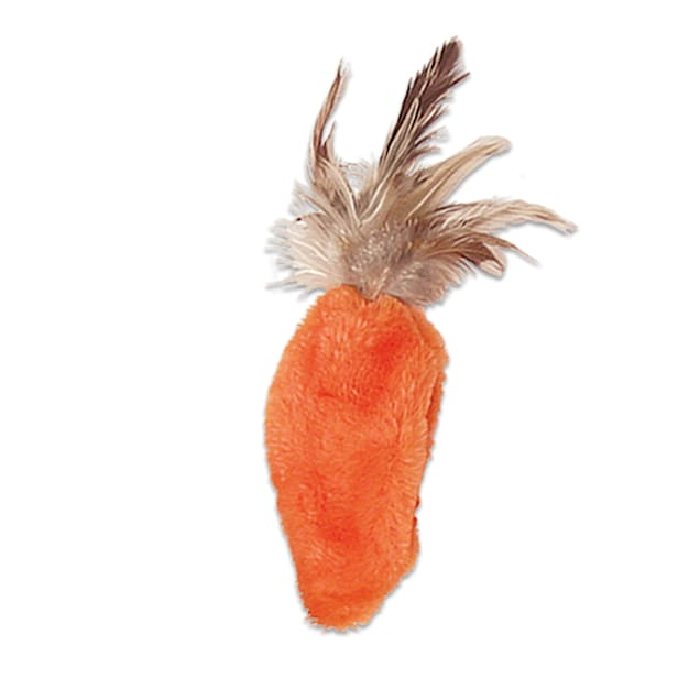 KONG Refillables Carrot with Feather Top Cat Toys - Carousel image #1