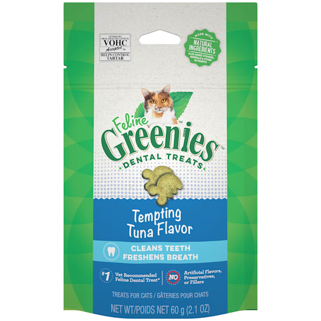 Greenies Natural Tempting Tuna Flavor Adult Dental Cat Treats, 2.1 oz., Pouch - Carousel image #1