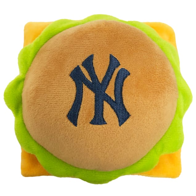 Pets First New York Yankees Hamburger Dog Toy, Medium - Carousel image #1