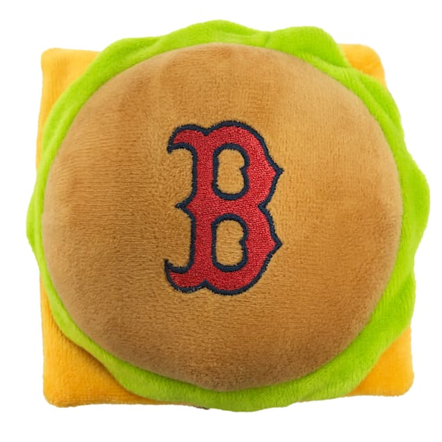 Pets First Boston Red Sox Hamburger Dog Toy, Medium - Carousel image #1