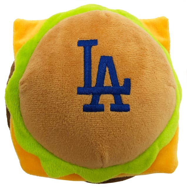 Pets First Los Angeles Dodgers Hamburger Dog Toy, Medium - Carousel image #1