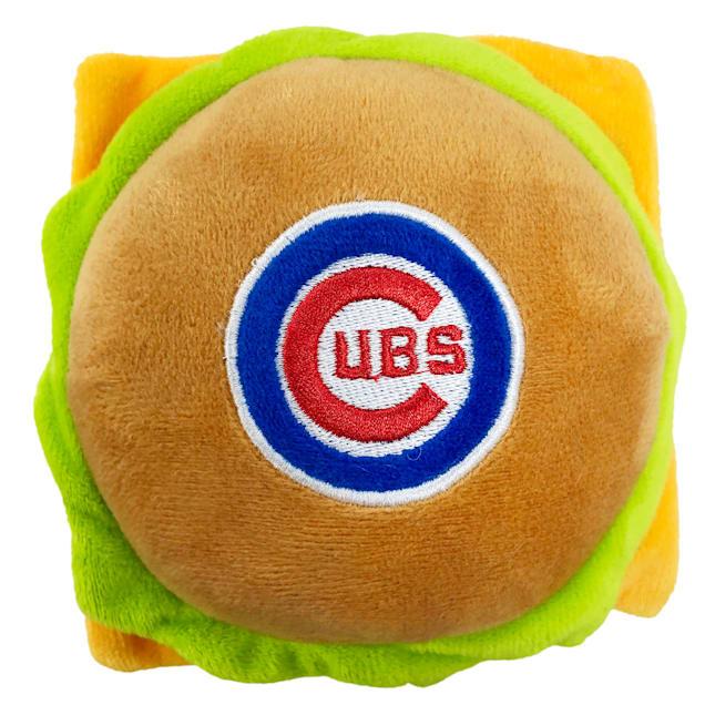 Pets First Chicago Cubs Hamburger Dog Toy, Medium - Carousel image #1