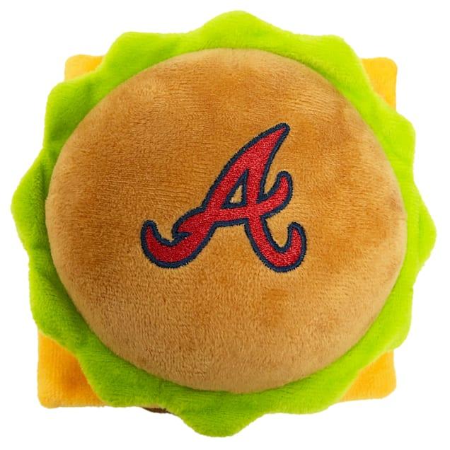 Pets First Atlanta Braves Hamburger Dog Toy, Medium - Carousel image #1