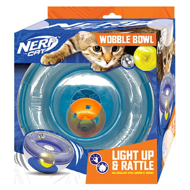 Nerf Wobble Bowl with LED Ball and Bell Ball Cat Toy, Medium - Carousel image #1
