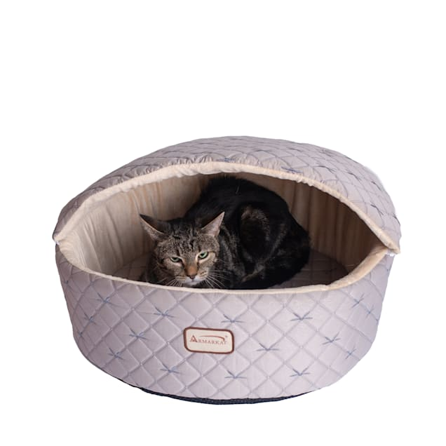 """Armarkat Pale Silver and Beige Cuddle Cave Pet Bed, 17"""" L X 16"""" W X 13"""" H - Carousel image #1"""