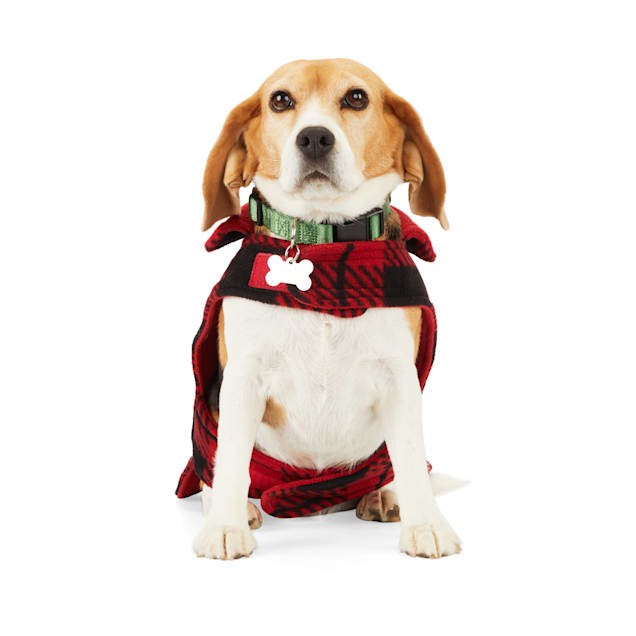 YOULY The Nature Lover Red Plaid Reversible Dog Cozy Coat, X-Small/Small - Carousel image #1