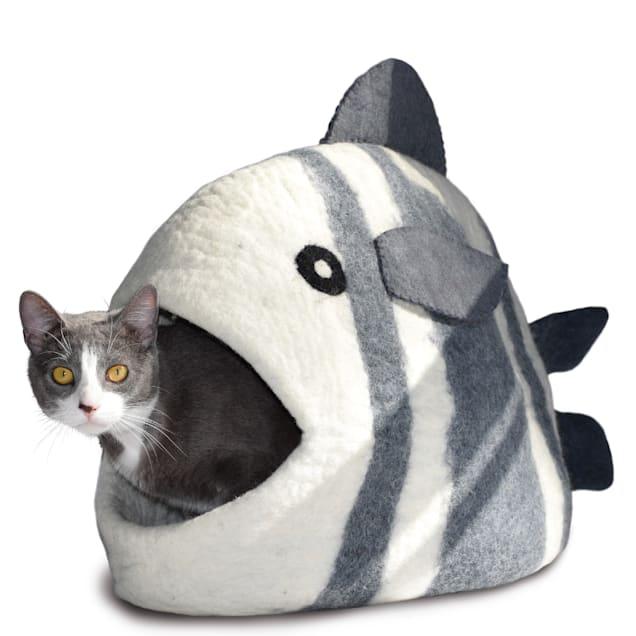 "Dharma Dog Karma Cat White & Grey Fish Wool Pet Cave, 22"" L X 14"" W X 12"" H - Carousel image #1"