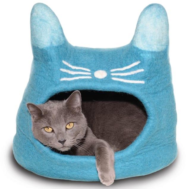"Dharma Dog Karma Cat Face Turquoise Wool Pet Cave, 14"" L X 12"" W X 12"" H - Carousel image #1"