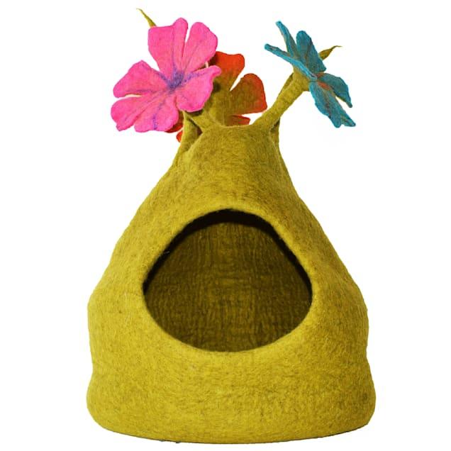 "Dharma Dog Karma Cat Bouquet Green & Multi Wool Pet Cave, 14"" L X 14"" W X 16"" H - Carousel image #1"