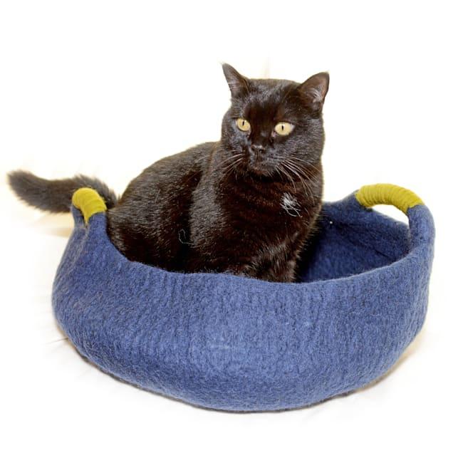 """Dharma Dog Karma Cat Navy Wool Handle Pet Basket, 14"""" L X 14"""" W X 4"""" H - Carousel image #1"""