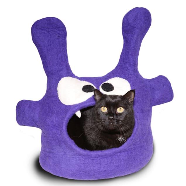 "Dharma Dog Karma Cat Monster Purple Wool Pet Cave, 14"" L X 12"" W X 12"" H - Carousel image #1"