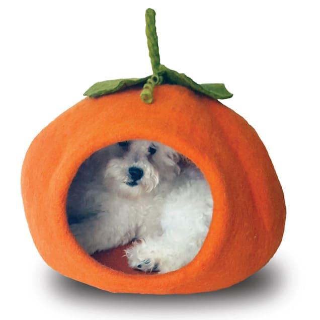 "Dharma Dog Karma Cat Pumpkin Wool Pet Cave, 16"" L X 16"" W X 12"" H - Carousel image #1"