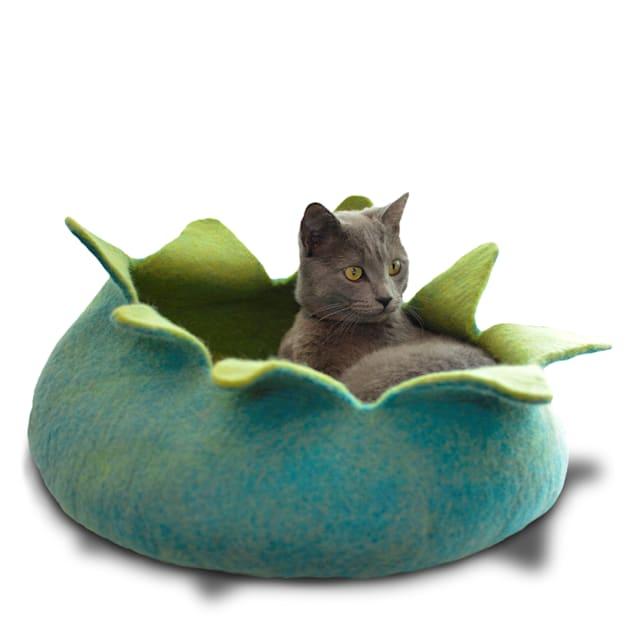 "Dharma Dog Karma Cat Aqua Petal Wool Pet Basket, 14"" L X 14"" W X 4"" H - Carousel image #1"