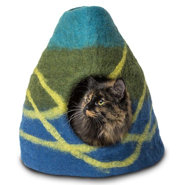 "Dharma Dog Karma Cat Striped Vase Blue Wool Pet Cave, 14"" L X 14"" W X 16"" H - Carousel image #1"