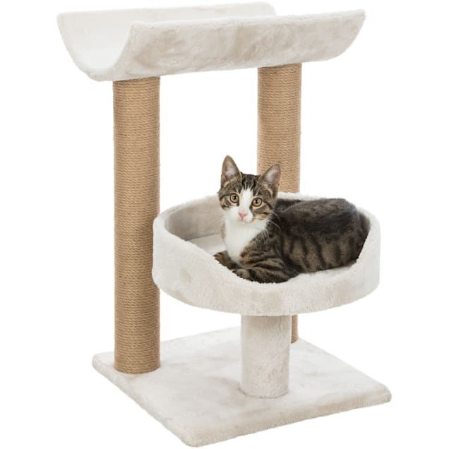 """TRIXIE Light Gray Isaba Cat Scratching Post with Two Platforms, 24.4"""" H - Carousel image #1"""