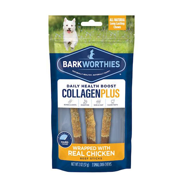 """Barkworthies 6"""" Chicken Wrapped Collagen Dog Sticks, 2 oz., Pack of 3 - Carousel image #1"""