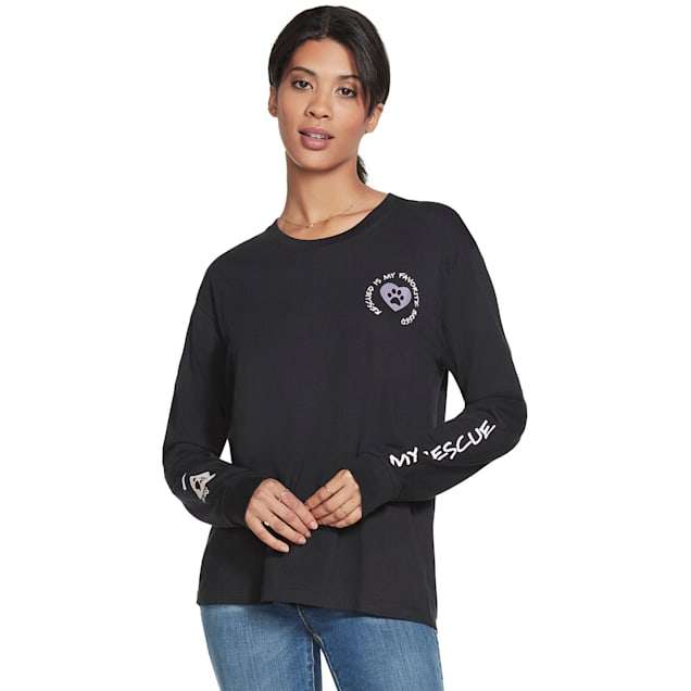 BOBS from Skechers Black I Luv My Rescue Long Sleeve Tee, Small - Carousel image #1