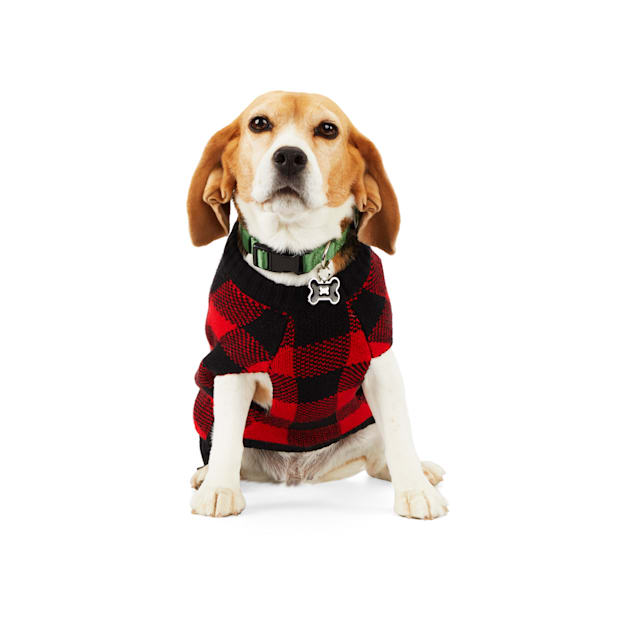 Merry Makings Check Me Out Red Buffalo Check Pet Sweater, XX-Small - Carousel image #1